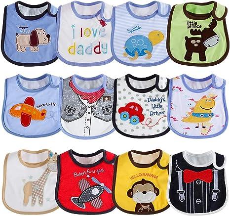 Lictin 12 pcs baberos de bebé para niños y niñas Baberos impermeables de algodón ajuste bebé baberos de bebé Impermeable 3 - 24 meses: Amazon.es: Bebé