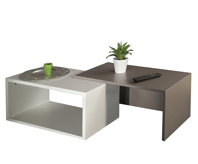 Tavolino 35 x 70 x 40 cm Bianco//Beige Sally C Bianco Symbiosis