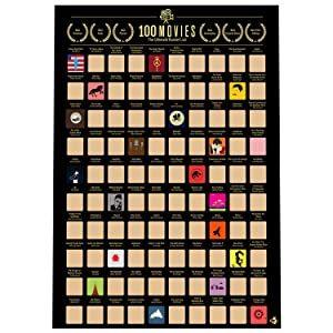 Me Time Joy 100 Movies Scratch Off Poster- Bucket List Poster- Quality Easy Off Gold Foil with Scratching Tool