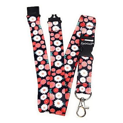 Correa para colgar al cuello SpiriuS en un diseño de flores, para el teléfono móvil, el soporte de la tarjeta de identificación o para el llavero, ...