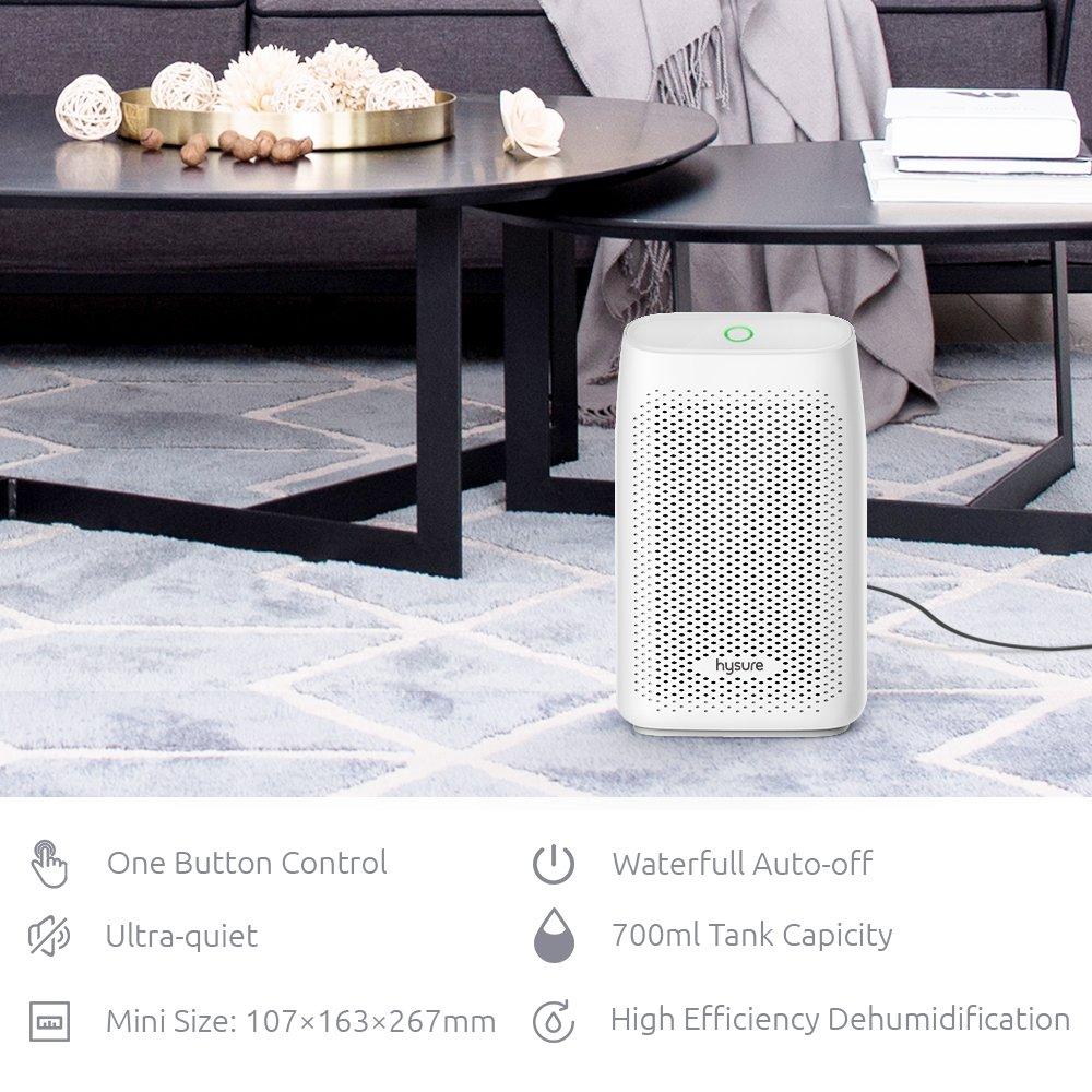 Hysure Quiet and Portable Dehumidifier Electric, Air Purifier, Deshumidificador, Home Dehumidifier for Bathroom, Crawl Space, Bedroom, RV, Baby Room 702ml white2