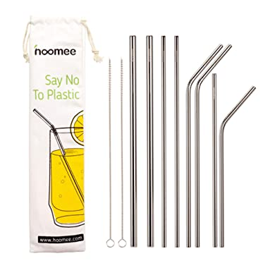 HOOMEE Reusable Stainless Steel Straws (Set of 8), Include 2 Extra Large Smoothie Straws And 6 Normal Size Drinking Straws. Green Alternative to Plastic, No Toxic, For Milkshakes, Juices, Cold Drinks