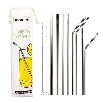 Amazon.com: HOOMEE Pajitas de acero inoxidable reutilizables ...