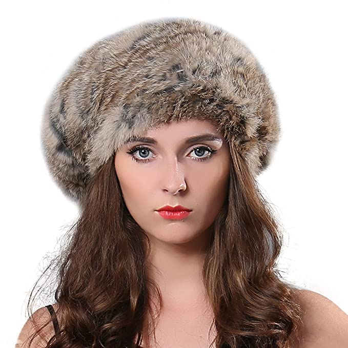 7e4e5f6ff5a FURTALK Women Winter Fur Beret Hat - Rex Rabbit Fur Knitted Warm Cap  Original (Goma)  Amazon.ca  Clothing   Accessories