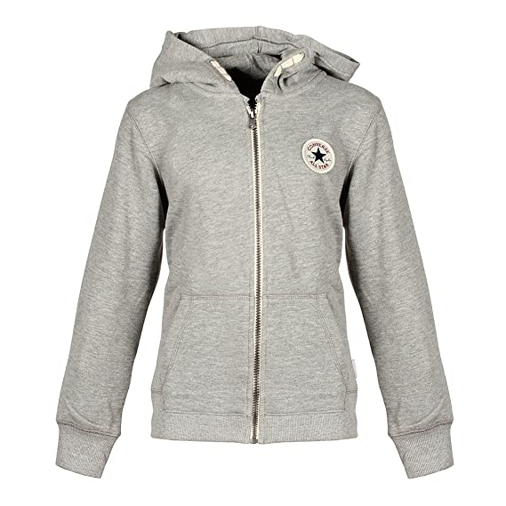 21affd1c18c955 Converse Junior Boys Core Ctp French Terry Hoody in Grey Heather- Zip  Fastening-  Converse  Amazon.co.uk  Clothing