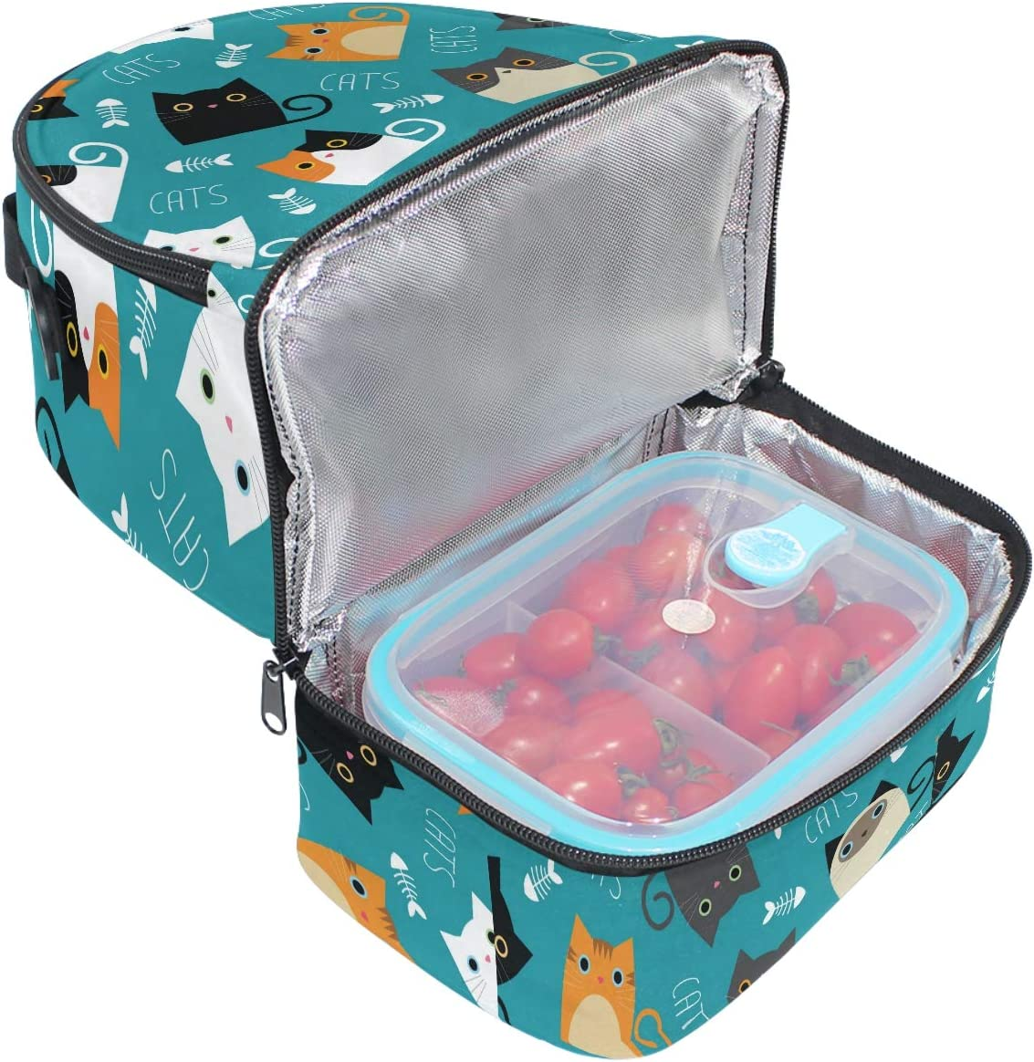 Naanle Christmas Style Red and White Polka Dot Double Decker Insulated Lunch Box Bag Waterproof Leakproof Cooler Thermal Tote Bag Large for Men Women Youth