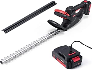 ZAKER Cordless Hedge Trimmers 20V with Battery and Charger Included,Electric Hedge Trimmer with 22.4 Inch Long Steel Dual Blade,5/8