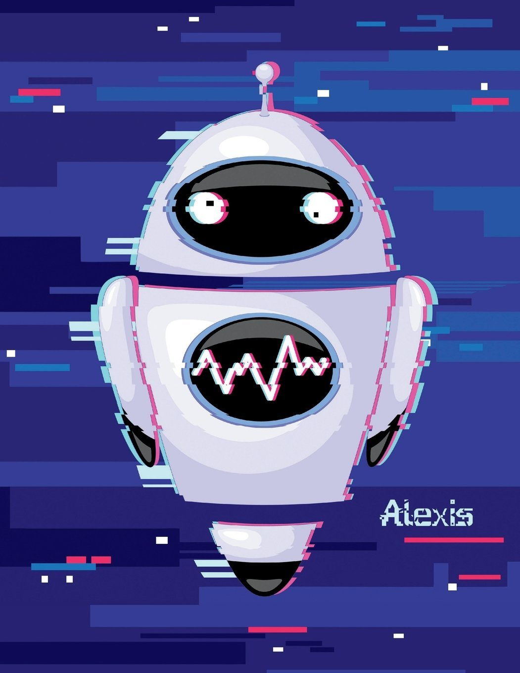 """Read Online Alexis: Personalized Discreet Internet Website Password Journal or Organizer, Cute Robot Themed Birthday, Christmas, Best Friend Gifts for Kids, ... Grandma, Large Print Book, Size 8 1/2"""" x 11"""" pdf epub"""