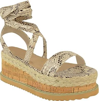 75e9ed4537b Definitely You Womens Ladies Flat Wedge Espadrille Sandals Lace Tie Up  Platform Summer Shoes Size (