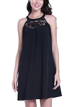 72066260846 MISS MOLY Women s Sexy Halter Neck Dress Sleeveless Summer Lace Dress Party  Evening Beach Black -