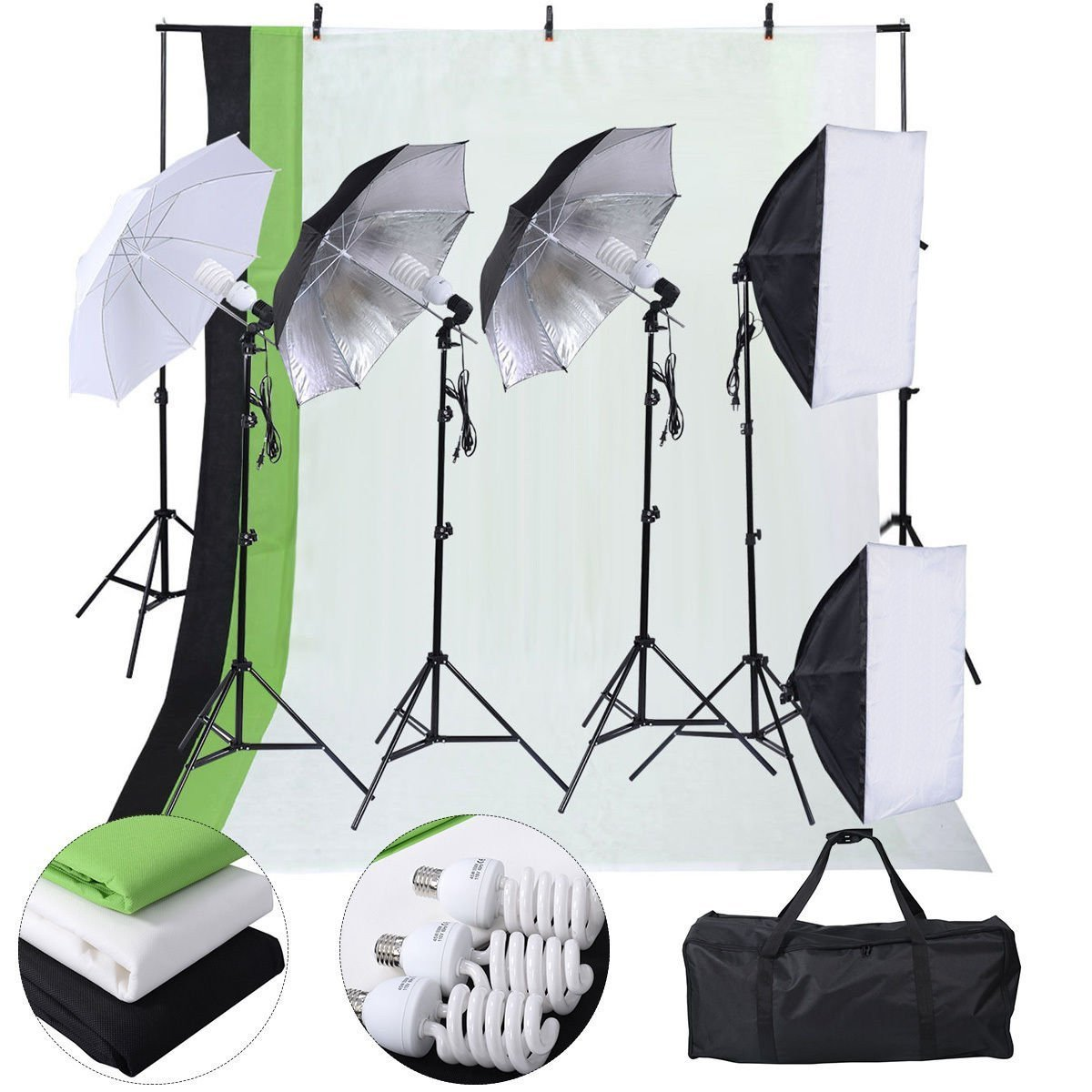 Safstar Photography Lighting Kits for Beginners, Includes Chromakey Studio Background Stand, 3 x Backdrops (Green Black White), 3 x Umbrellas Kits, 2 x Softboxs Kits, 3 x Clamps, 2 x Carry Bags by S AFSTAR