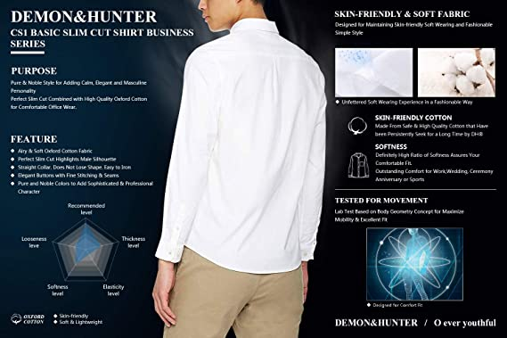 Demon&Hunter CS1 Serie Camisa Manga Largas Slim Fit Oxford Camisa Casual Elástica