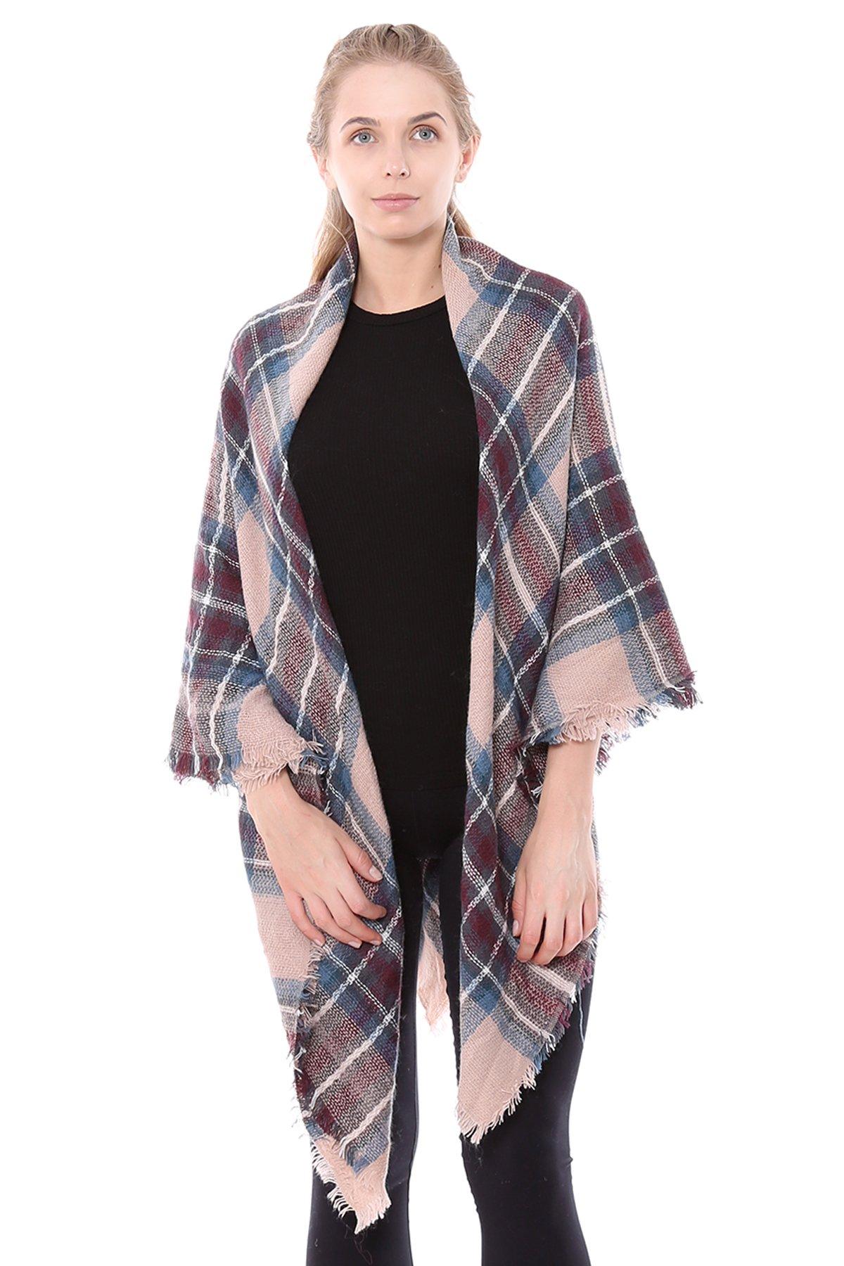 BYOS Women Winter Chic Tartan Plaid Versatile Blanket Scarf Wrap Shawl (Pink Blue)