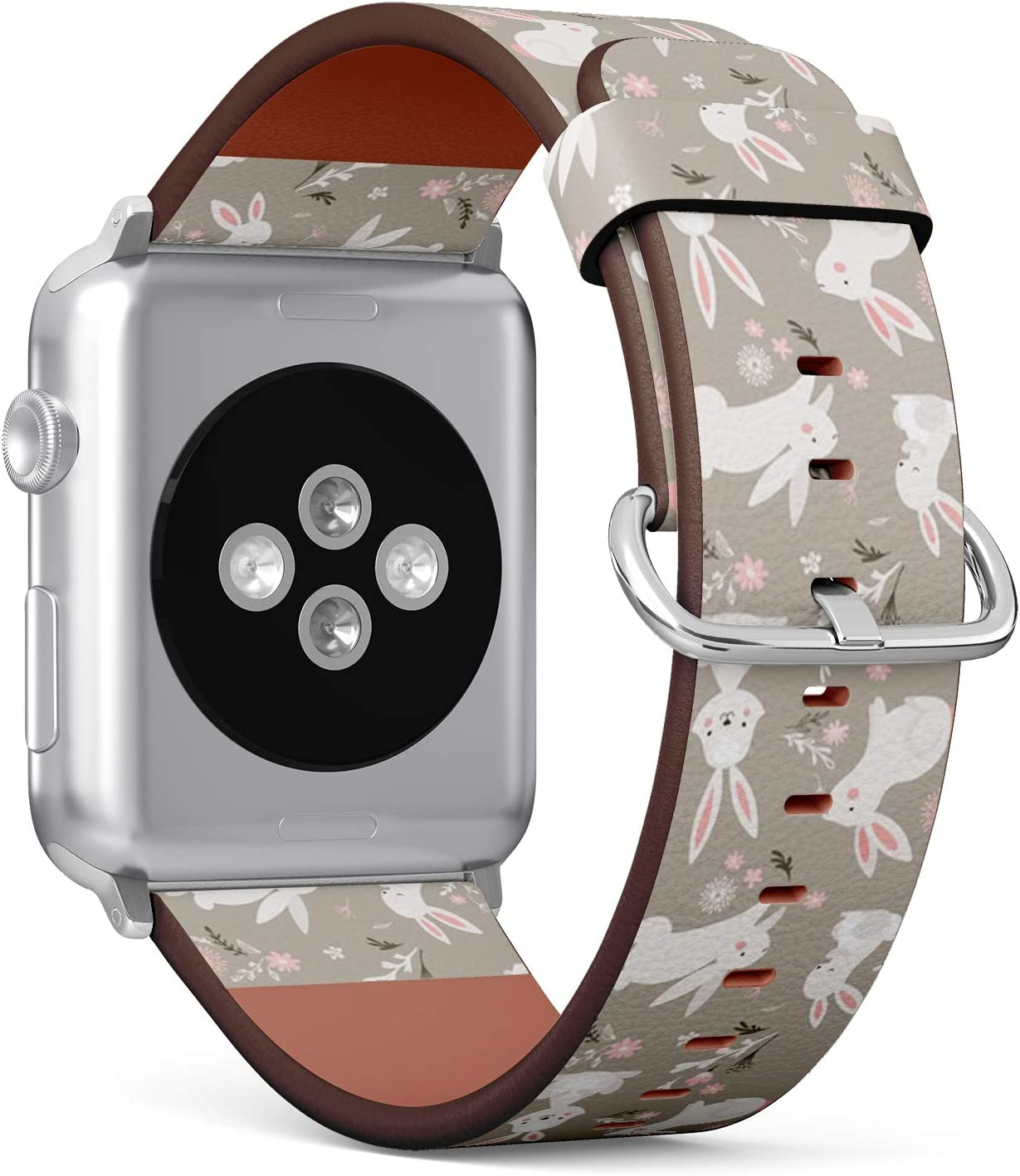 Compatible with Big Apple Watch 42mm & 44mm (All Series) Leather Watch Wrist Band Strap Bracelet with Stainless Steel Clasp and Adapters (Easter Design Bunnies)