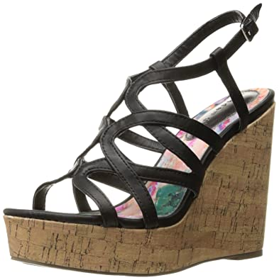 Madden Girl Women's Elmaa Wedge Sandal, Black Paris, ...