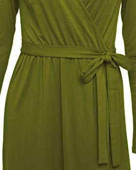 Women Deep V Wrap Ruched Long Sleeve Maxi Split Skirt Button Party Wedding Dress