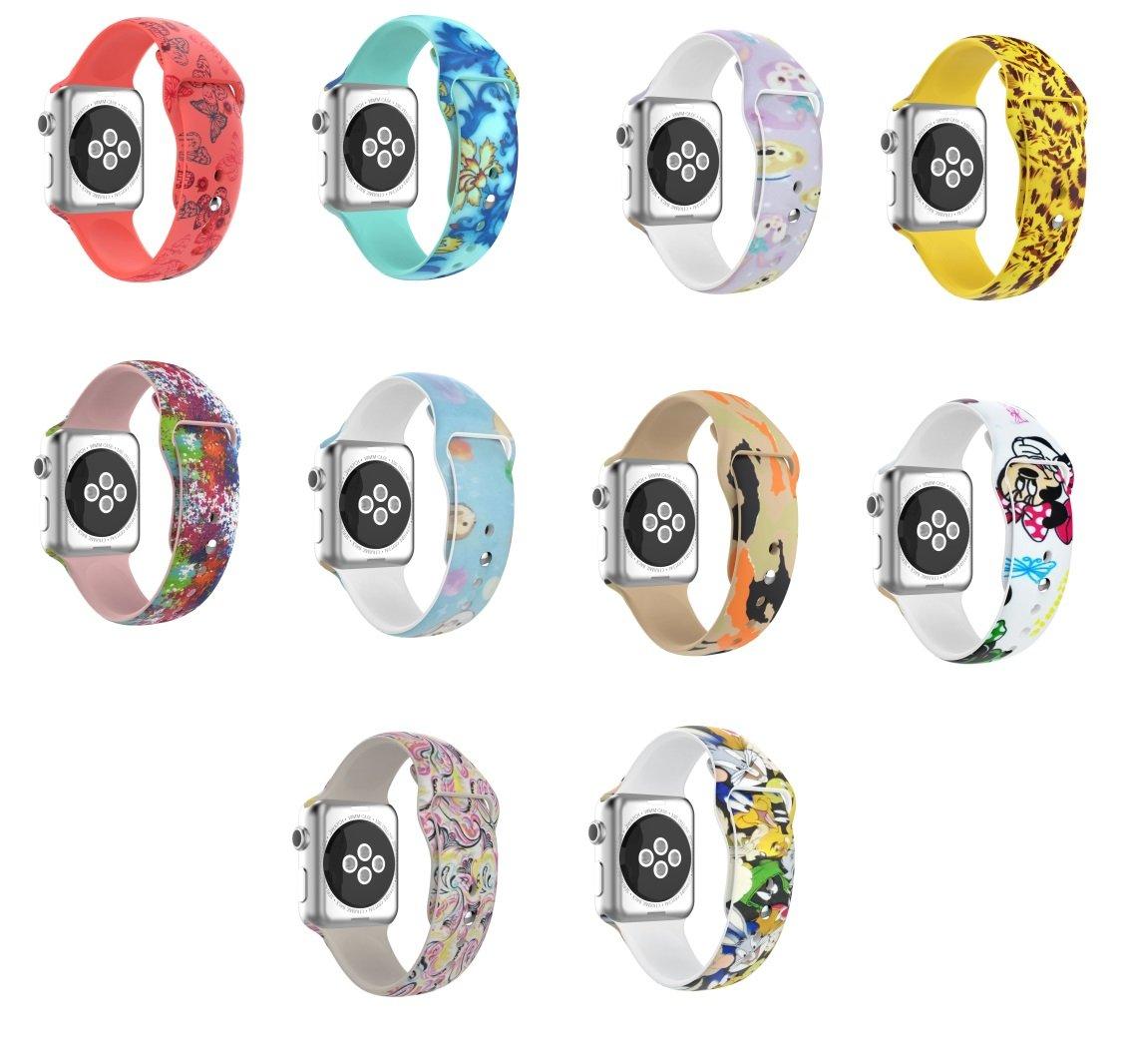 時計ベルトfor Apple Watch、btchoiceシリコンプリント用交換ストラップリストバンドコネクタfor Apple Watchシリーズ1 / 2 / 3  カラー 38mm B078SQCVV7