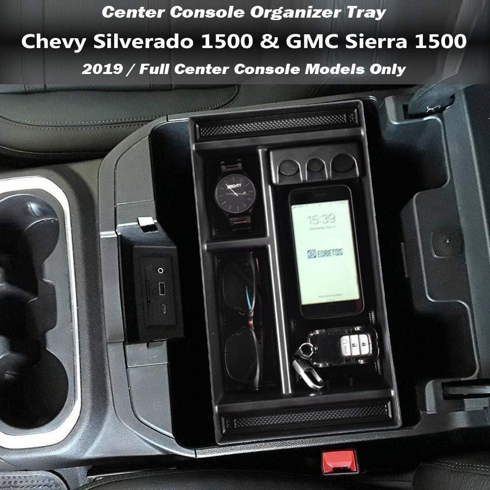 SENSHINE Center Console Organizer Tray for 2019 Chevy Silverado 1500//GMC Sierra 1500 and 2020 Chevy Silverado//GMC Sierra 1500//2500//3500 HD Armrest Storage Secondary Box Full Center Console Models