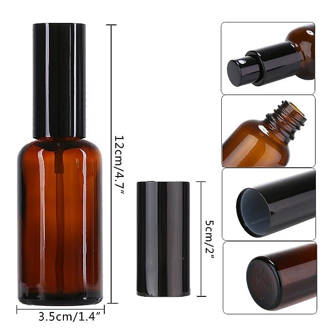 FOONEE Botellas de Spray de Vidrio ámbar, 50 ML, plástico Negro, pulverizadores Finos, Tapas Antipolvo, Varios diluciones (6 Unidades): Amazon.es: Hogar