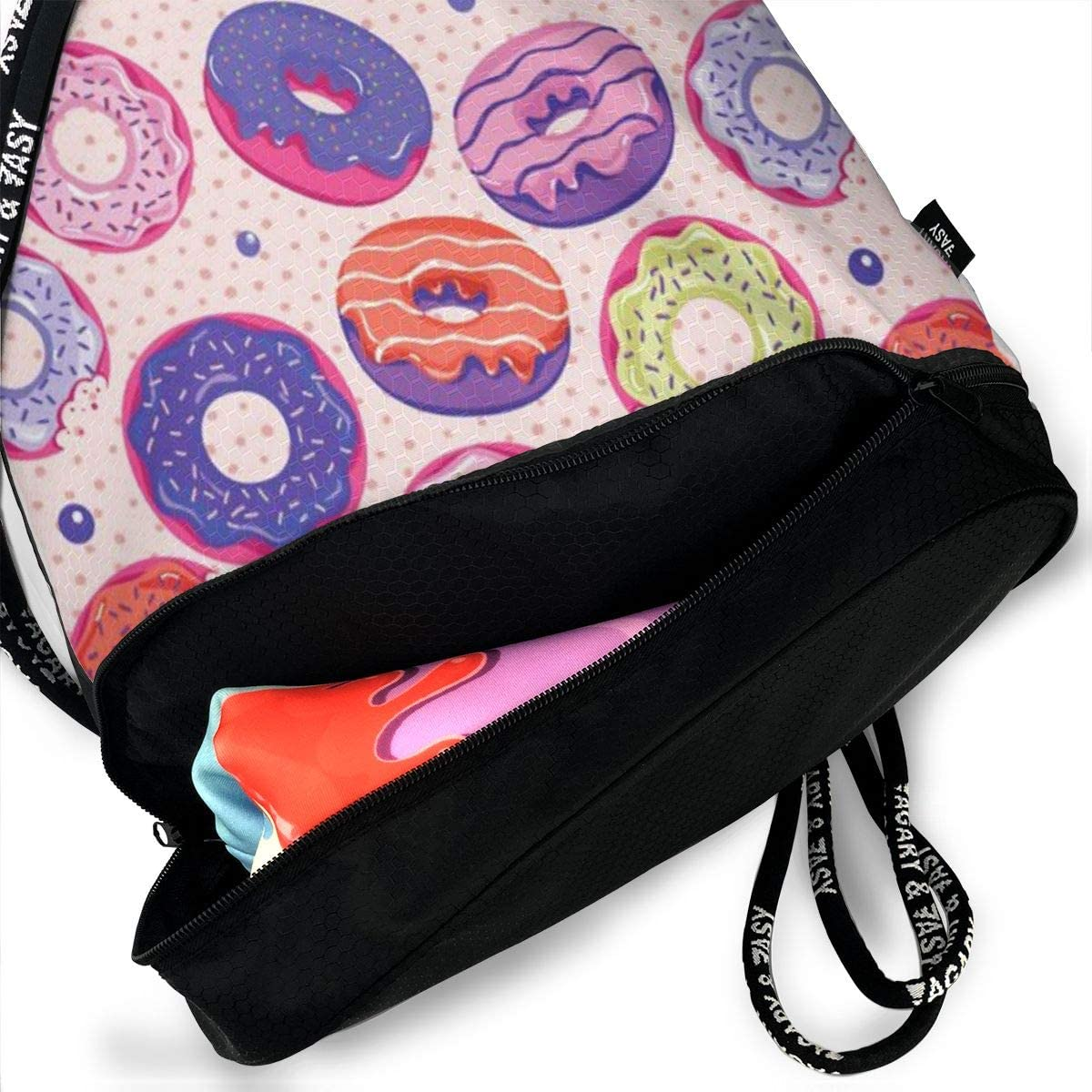 GymSack Drawstring Bag Sackpack Sweet Doughnut Sport Cinch Pack Simple Bundle Pocke Backpack For Men Women