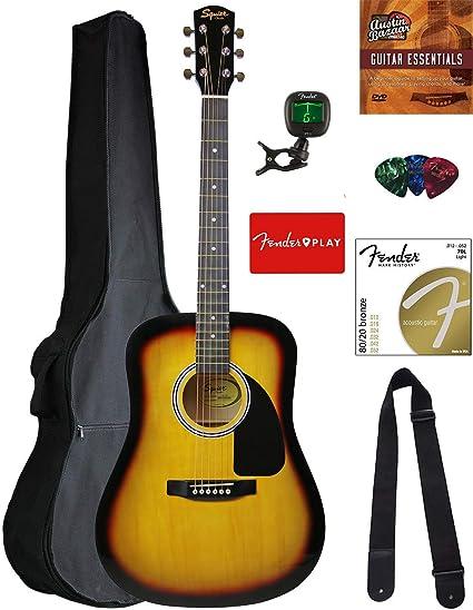 Fender guitarra acústica de paquetes: Amazon.es: Instrumentos ...