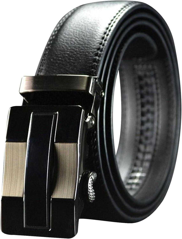 QHA Mens Prancing Horse Automatic Ratchet Leather Belt For Men Auto Buckle