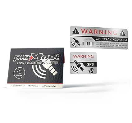 Plemont Set de 4 Pegatinas GPS con protección antirrobo para Coche, camión, Bicicleta y mas - Pegatinas GPS (platado, Adhesivo Exterior)