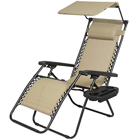 Bon New Zero Gravity Chair Lounge Patio Chairs With Canopy Cup Holder