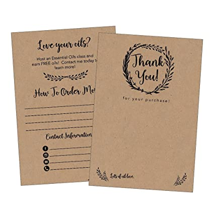 Amazoncom 25 4x6 Rustic Essential Oils Thank You Cards For