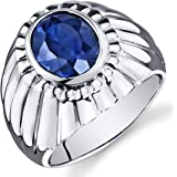 Mens 5.50 Carats Created Sapphire Ring Sterling Silver Rhodium Nickel Finish Bezel Set Sizes 8 to 13