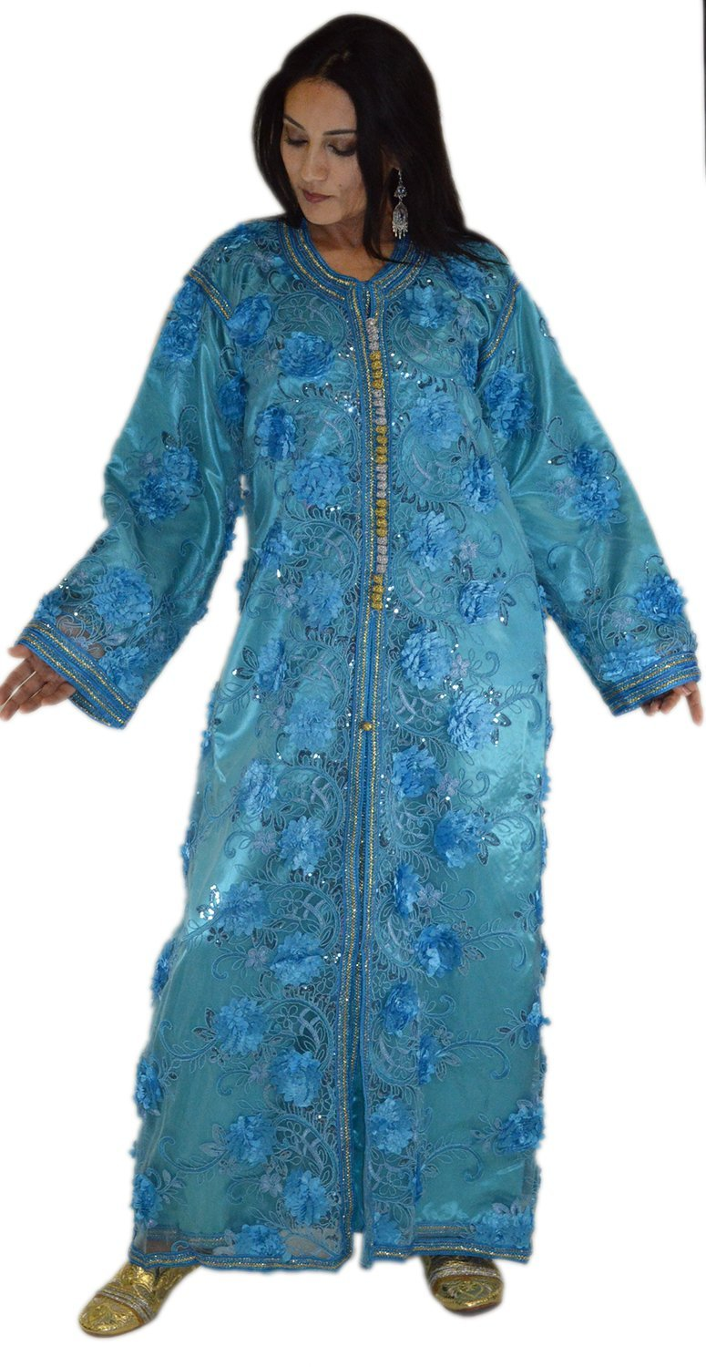 Moroccan Caftans Wedding Gown Handmade 2 Pieces Embroidered Fits SMALL to LARGE