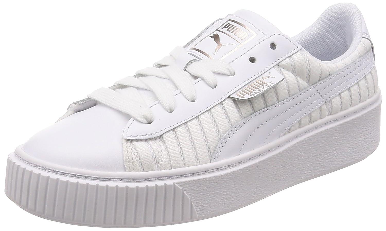 Puma Basket Platform EP Wn's, Zapatillas para Mujer 37.5 EU|Blanco (Puma White-puma White-puma White)