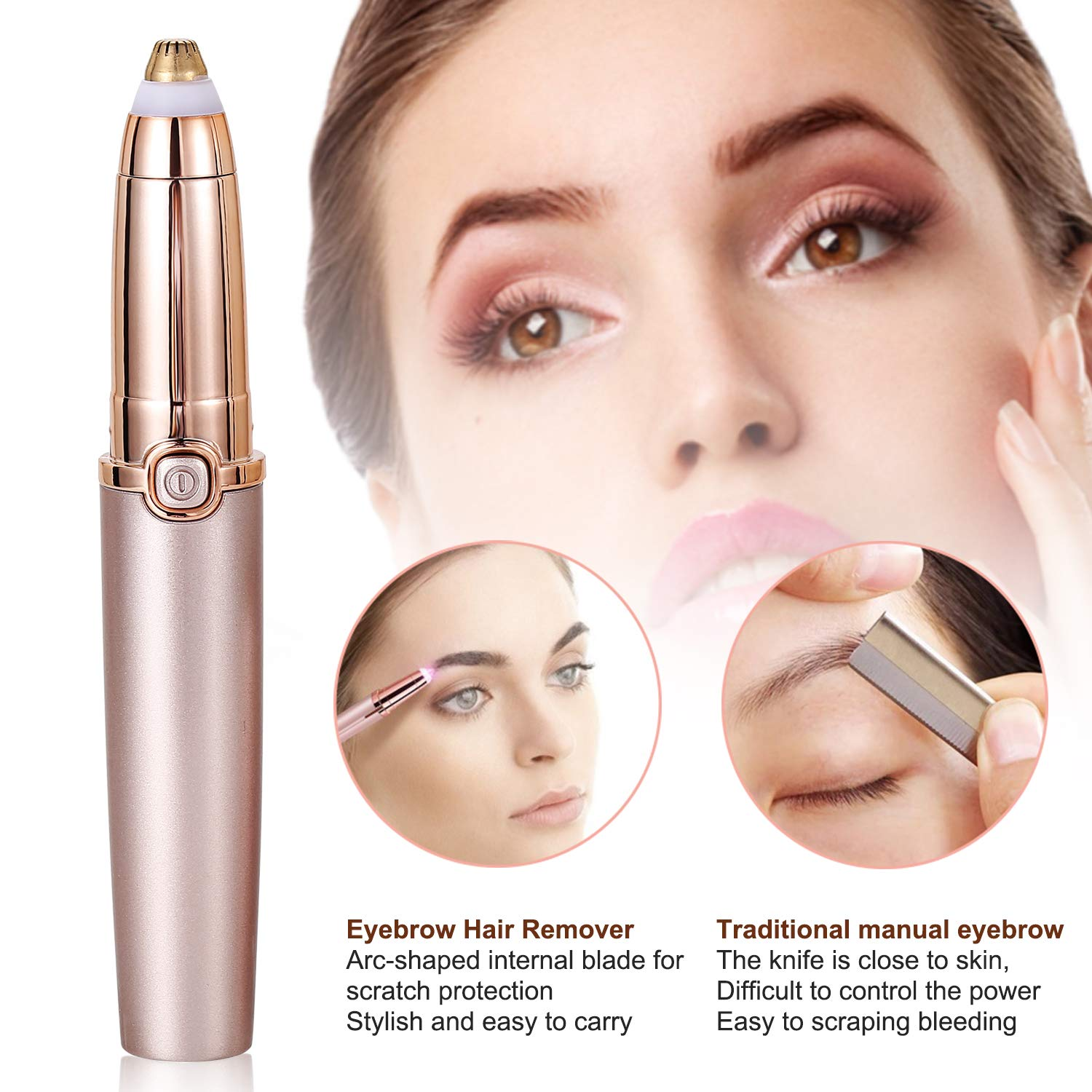 Eyebrow Trimmer for Women, Eyebrow Hair Trimmer, 2019 Upgraded Electric Eyebrow Trimmer, Premium Eyebrow Trimmer, Painless Facial Hair Removal with LED Light, Rose gold
