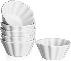 DOWAN 6 Oz Porcelain Ramekins - Serving Bowls for Souffle, Creme Brulee, Flower Shape Ramekins for Baking, Set of 6, White