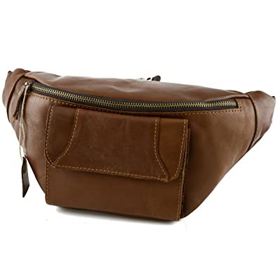 c2a55e0a0d0ba Made In Italy Genuine Leather Man Bum Bag With Front Pocket Color Cognac  Tuscan Leather - Man Bag: Amazon.co.uk: Shoes & Bags