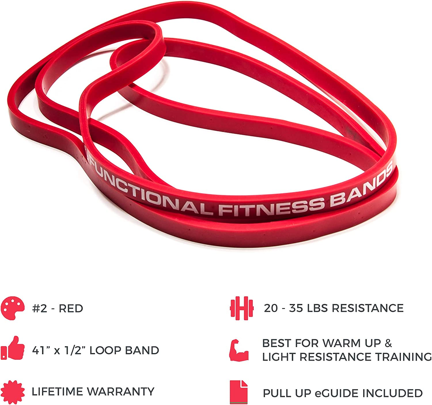 rehab assisted pull-ups powerlifting physical therapy ring dips gym muscle-Ups chin-ups 8 sizes, available in 15, 35, 50, 80, 120, 150, 170, and 200 pound options, 6-Month Warranty Functional Fitness 41 inch Continuous Loop Crossfit Pull up Band -