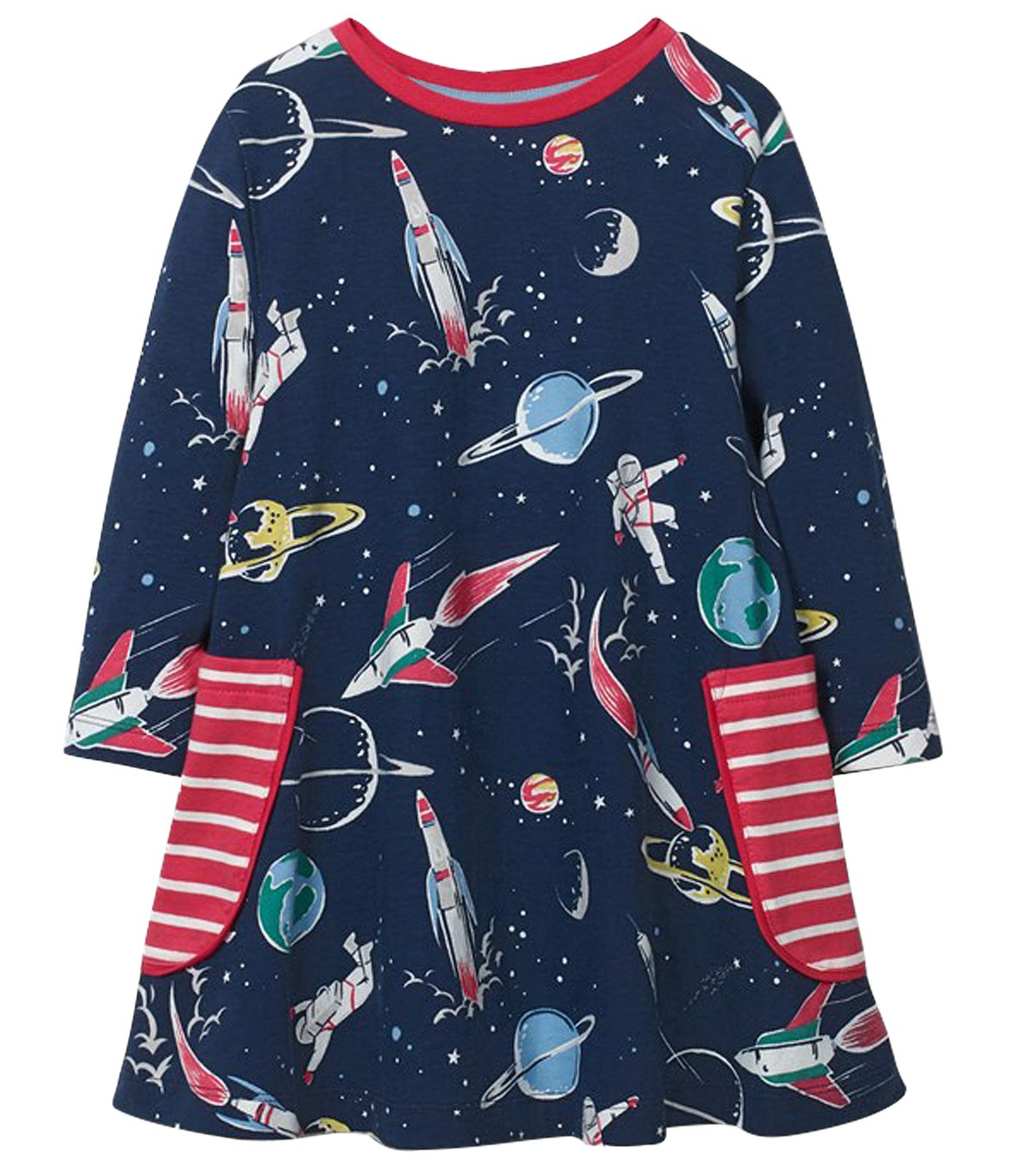 Fiream Girls Cotton Casual Longsleeve Cartoon Dresses (7T/7-8YRS, 7723)