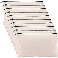 Alphatool 10 Pack Blank DIY Craft Bag Canvas Pen Pencil Case- Cotton Canvas Invoice Bill Bag Makeup Bag Cosmetic Bag…