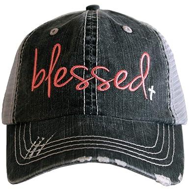 978b85c5 Amazon.com: Katydid Blessed Women's Trucker Hat-Coral/White: Clothing