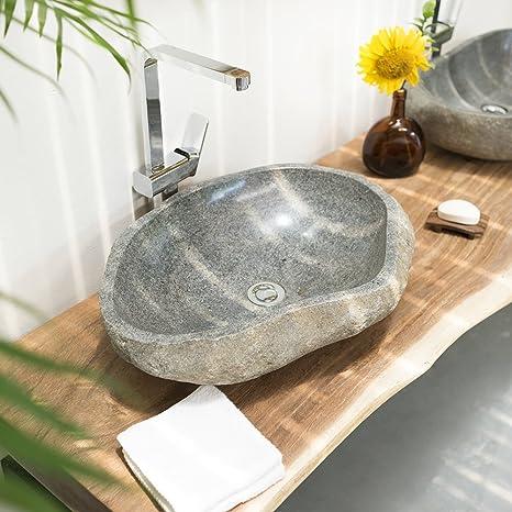 wohnfreuden Naturstein - Waschbecken 60 cm oval Flussstein Findling ✓  Unikat Auswahl ✓