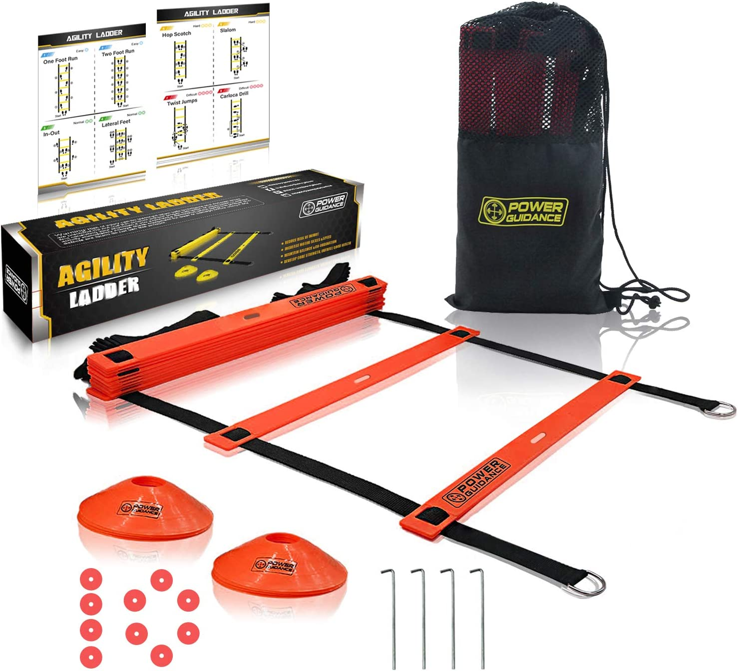 POWER GUIDANCE Agility Ladder (20 Feet) for Speed & Agility Trainning - with 12 Heavy Duty Plastic Rungs, Ground Stakes, Carry Bag & 10 Sports Cones