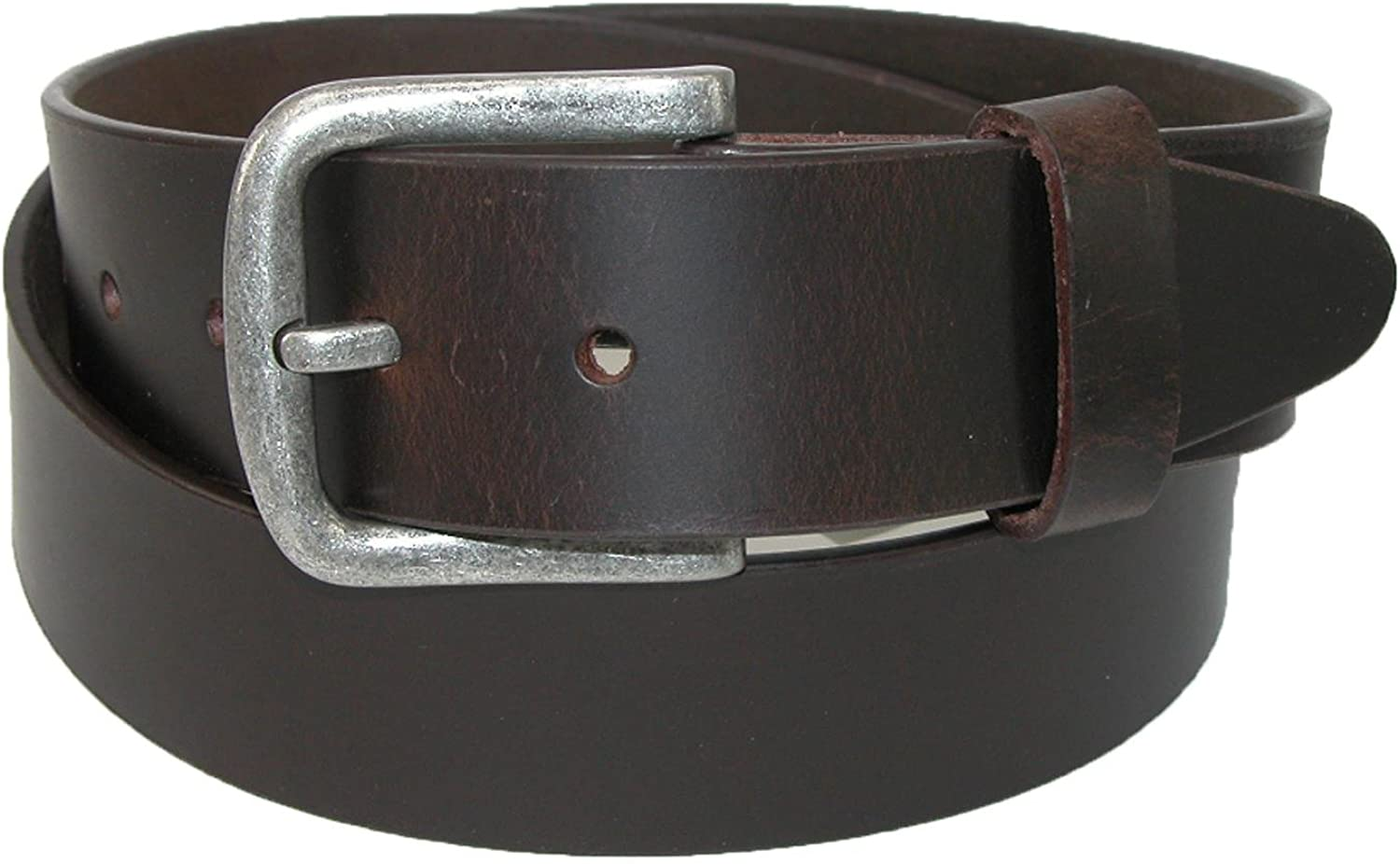 CTM Mens Big /& Tall Leather Removable Buckle Bridle Belt