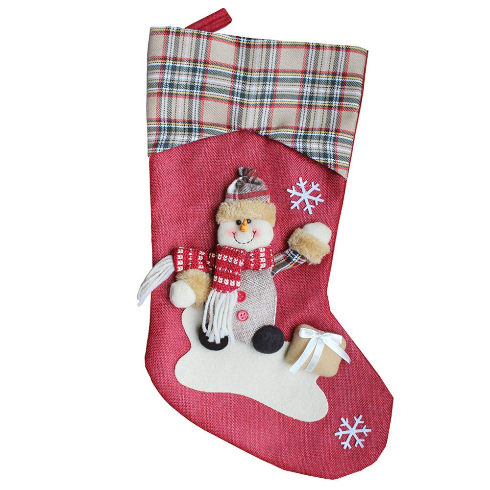 nanzhushangmao Christmas Stocking Bulk, Xmas Character 3D Plush Plaid Cuff Christmas Decorations Party Accessory Candy Socks Bag (B)
