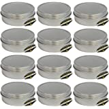 "Mighty Gadget (R) 4 oz Round Tins Screw Lid Container (12 pack) - 3.125"" x 1.1875"""