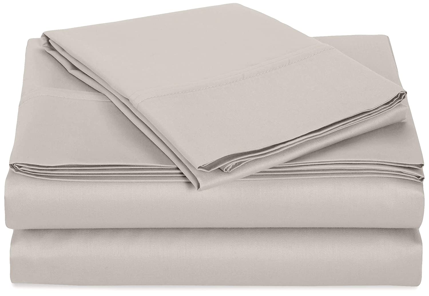 AmazonBasics 400 Thread Count Sheet Set, 100% Cotton, Sateen Finish - Twin, White ICIL400MXLTWWH