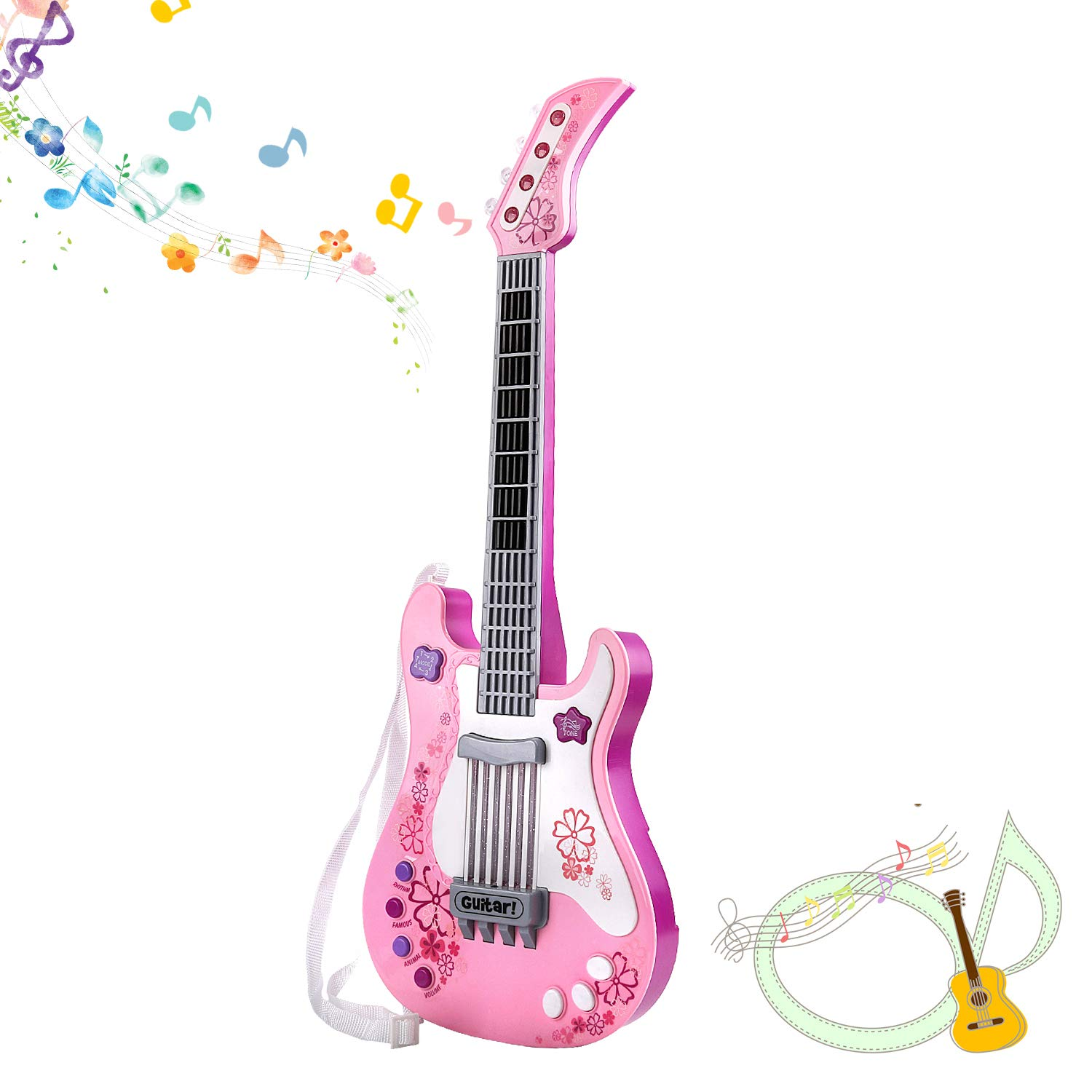 TWFRIC Girls Guitar, Kids Toy Guitar, Pink Kid Guitar Music Instruments Birthday Gift Party Favor for Kids