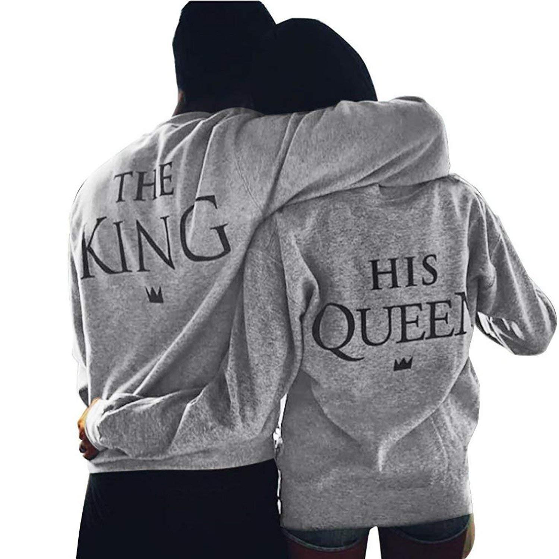 Yezelend Couple Sweatshirt Femmes Hommes Casual Col Rond Manches Longues  Imprimer Lettre De King Queen Tops Pull Amants Blouse Cadeaux  Amazon.fr   Vêtements ... 1cec30ef2912