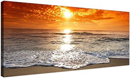 Wallfillers Cheap Canvas Pictures Of A Tropical Beach Sunset For Your Bedroom Panoramic Seaside Wall Art 1152 Amazon Co Uk Kitchen Home