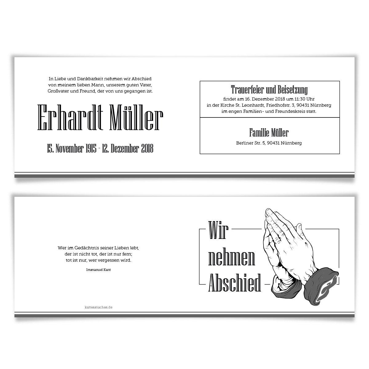 100 x Trauerkarte Trauerkarte Trauerkarte individuell Trauer Todesfall Beerdigung Bestattung - Betende Hände B07BH4HCQX | New Listing  | Hochwertig  | Ausreichende Versorgung  cabeb4