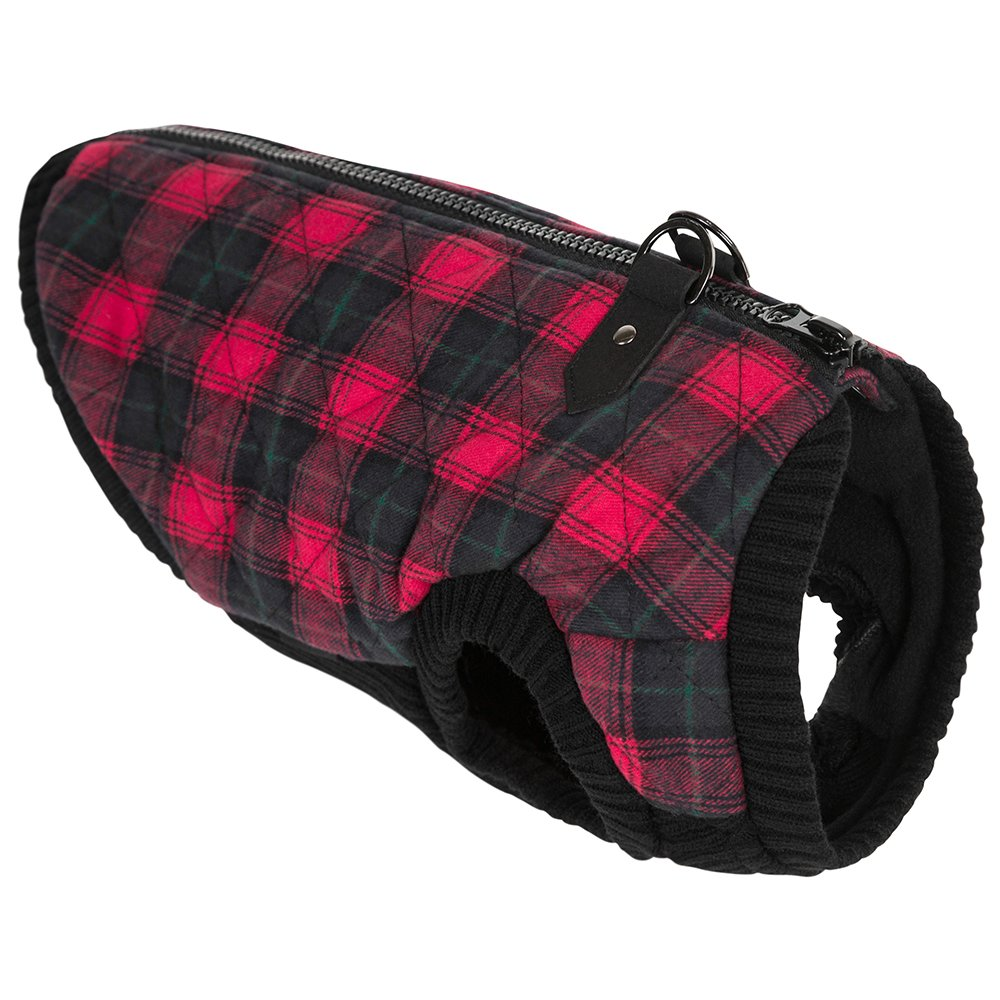 Gooby 75002C-RED-L Fashion Check Quilted Bomber Dog Vest with Stretchable Chest, Red Check, Large